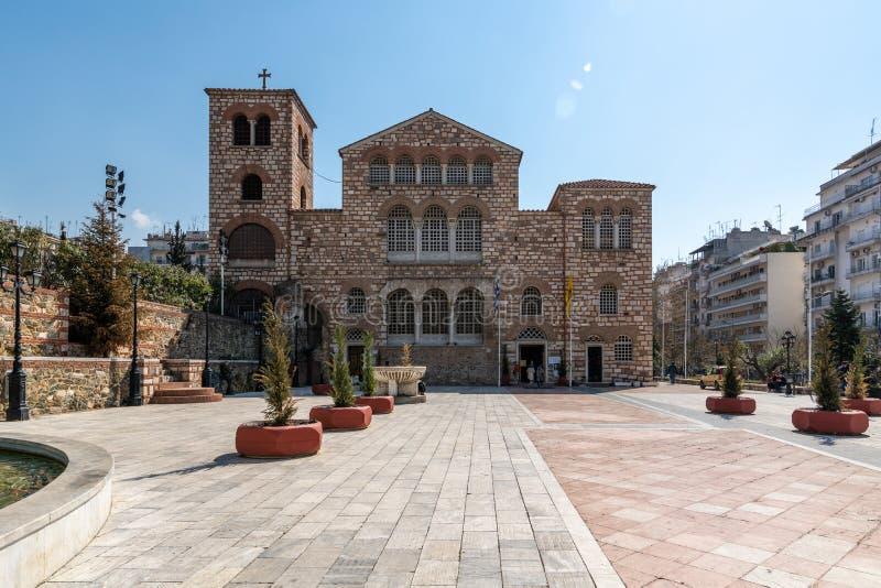 Oude Byzantijnse Kerk van Heilige Demetrius, Thessaloniki, Griekenland royalty-vrije stock afbeelding
