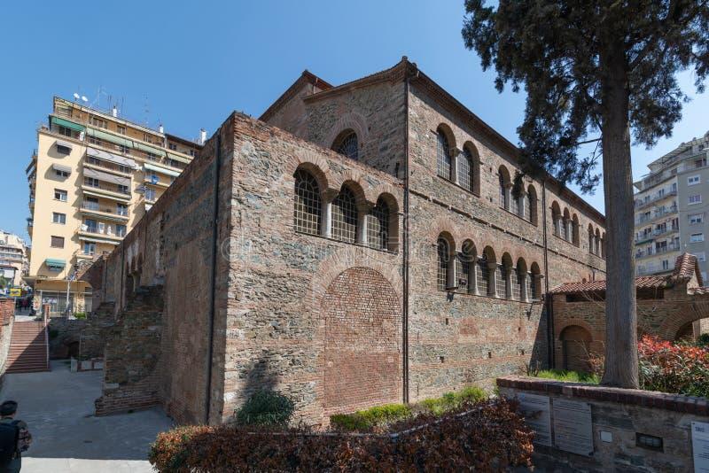 Oude Byzantijnse Kerk van Panagia Acheiropoietos, Thessaloniki, Griekenland royalty-vrije stock foto