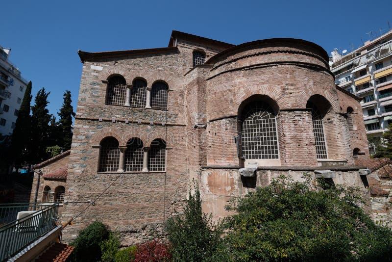 Oude Byzantijnse Kerk van Panagia Acheiropoietos, Thessaloniki, Griekenland stock afbeeldingen