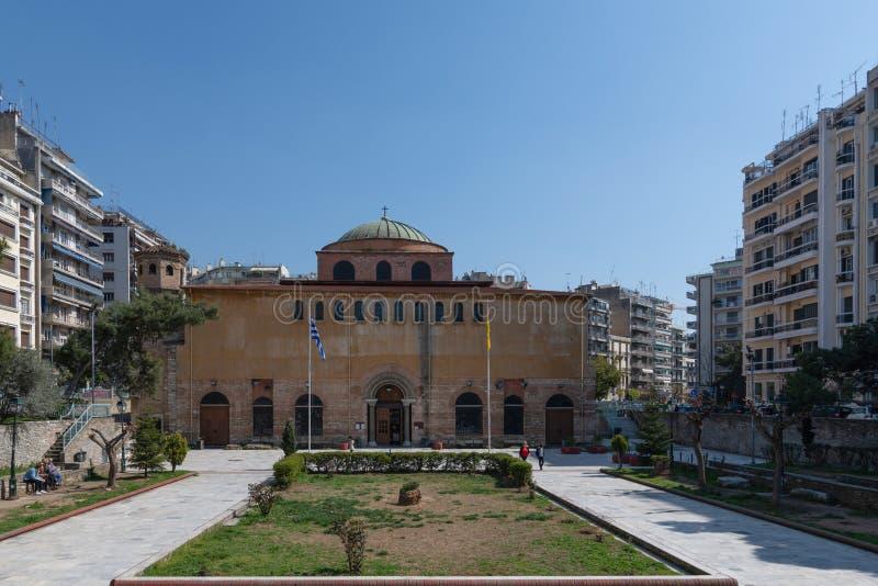 Oude Byzantijnse Orthodoxe Agia Sophia Cathedral, Thessaloniki, Griekenland royalty-vrije stock fotografie