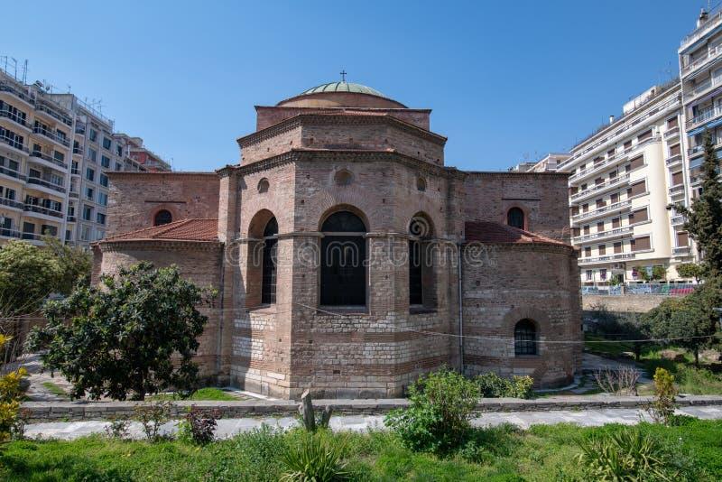 Oude Byzantijnse Orthodoxe Agia Sophia Cathedral, Thessaloniki, Griekenland stock afbeelding