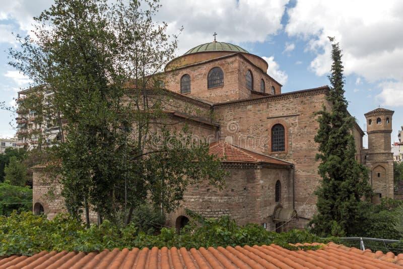 Oude Byzantijnse Orthodoxe Hagia Sophia Cathedral in het centrum van stad van Thessaloniki royalty-vrije stock afbeeldingen
