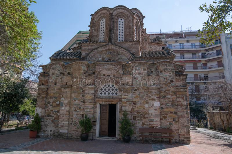 Oude Byzantijnse Orthodoxe kerk van St Panteleimon, Thessaloniki, Griekenland royalty-vrije stock afbeeldingen