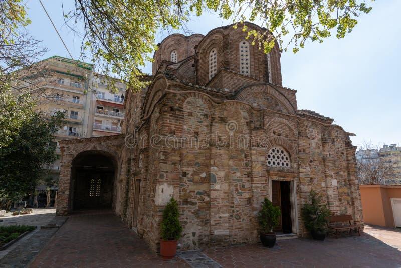 Oude Byzantijnse Orthodoxe kerk van St Panteleimon, Thessaloniki, Griekenland stock fotografie