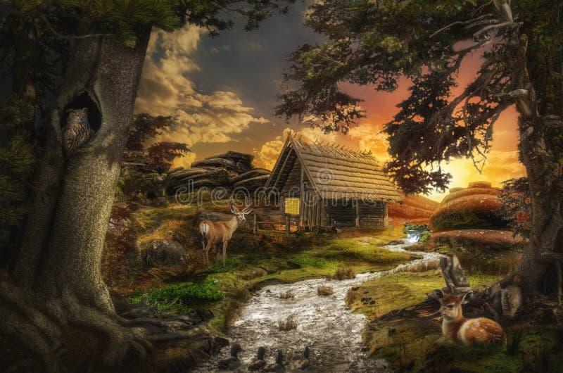 Oude cabine royalty-vrije illustratie