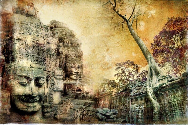 Oude Cambodjaanse tempels royalty-vrije illustratie