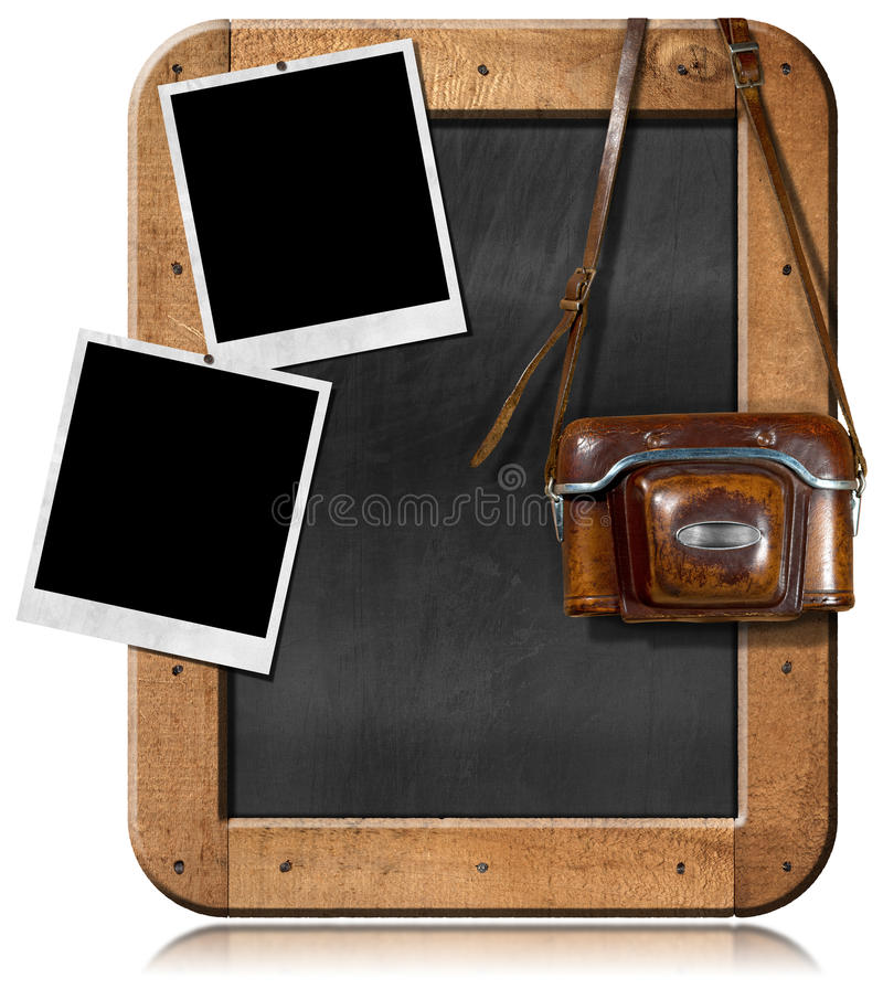 Oude Camera met Bord en Lege Foto's stock illustratie
