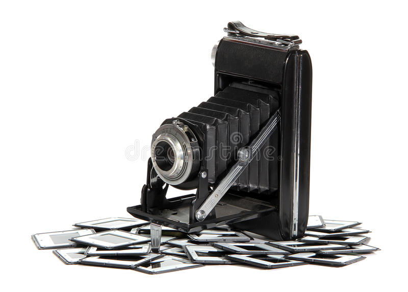 Oude camera met fotoframes royalty-vrije stock foto
