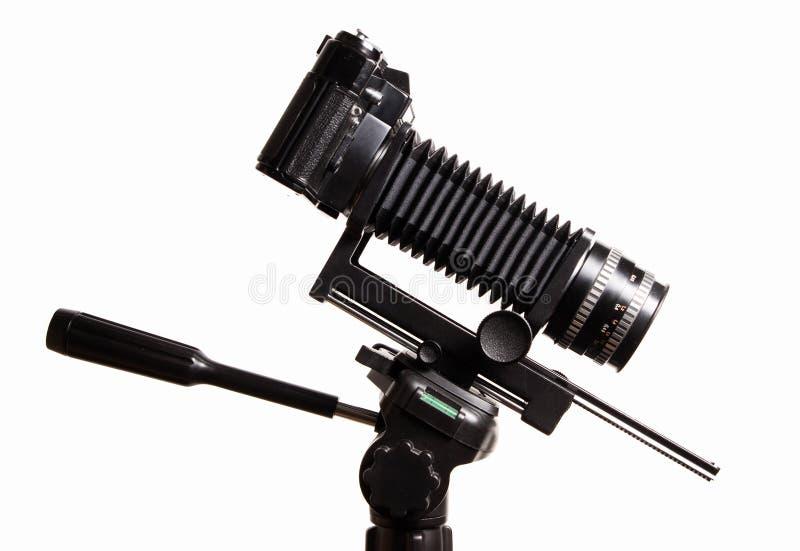 Oude camera met uitbreiding stock afbeelding