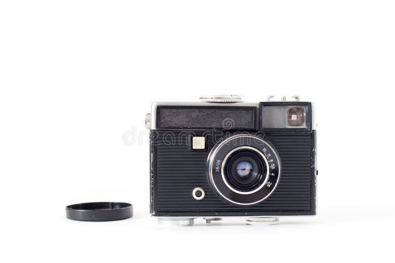 Oude camera op witte achtergrond Vlak leg, hoogste mening royalty-vrije stock afbeelding