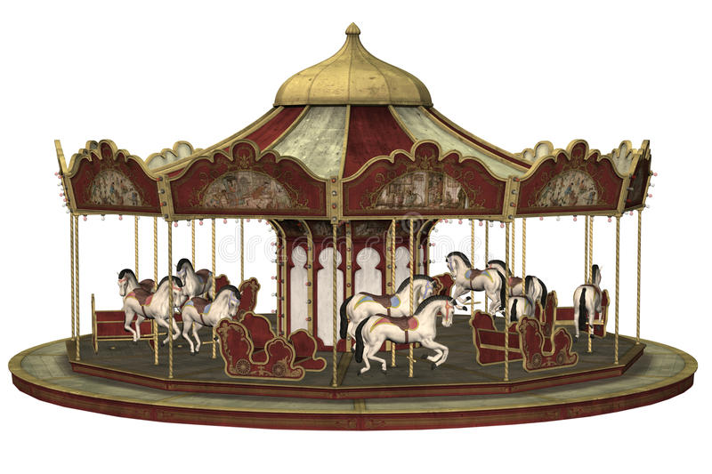Oude carrousel stock illustratie