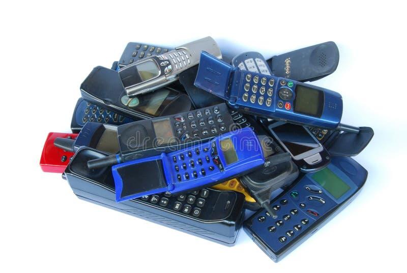 Oude celtelefoons stock afbeelding