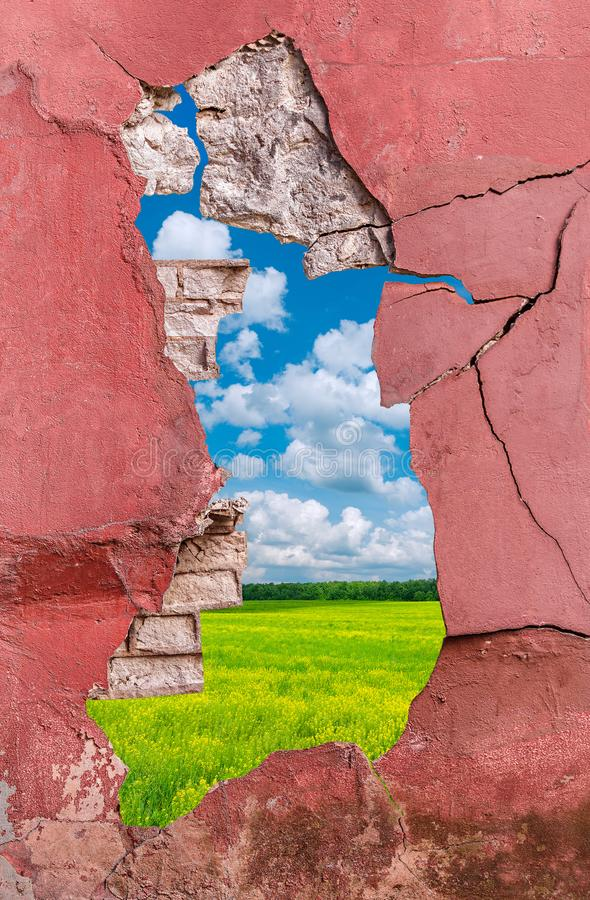 Oude cement en bakstenen muur royalty-vrije stock afbeeldingen