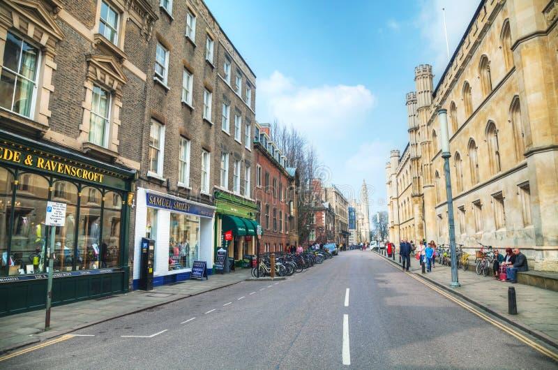 Oude centrale straat van Cambridge royalty-vrije stock afbeelding