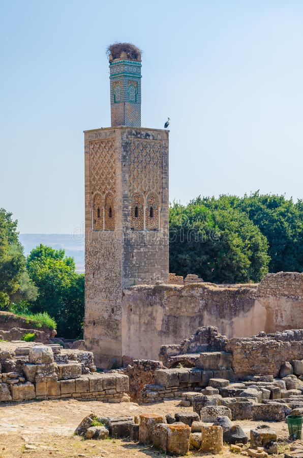 Oude Chellah-Necropoolruïnes met moskee en mausoleum in Marokko ` s hoofdrabat, Marokko, Noord-Afrika royalty-vrije stock afbeelding
