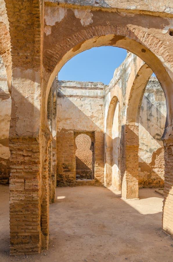 Oude Chellah-Necropoolruïnes met moskee en mausoleum in Marokko ` s hoofdrabat, Marokko, Noord-Afrika stock afbeeldingen