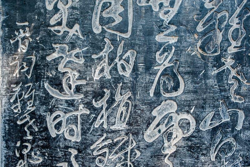 Oude Chinese die Karakters in een steen worden gesneden royalty-vrije stock afbeeldingen