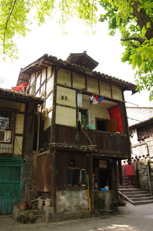 Oude Chinese Gebouwen Chongqing Sichuan China stock foto