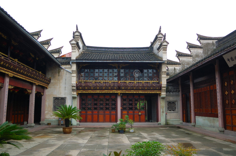 Oude Chinese werf stock foto
