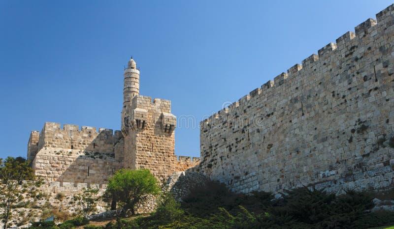Oude citadel en Toren van David in Jeruzalem stock foto's