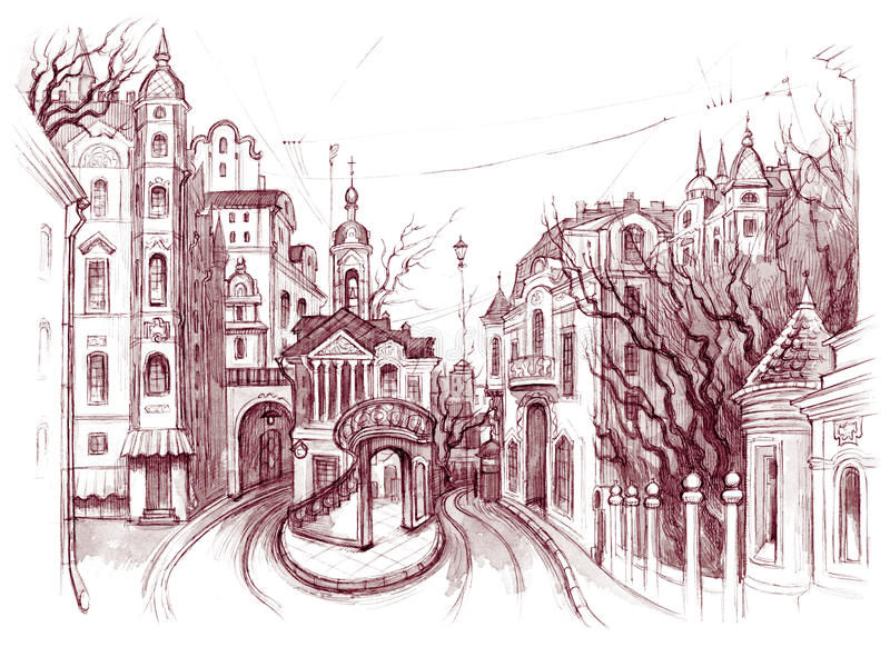 Oude comfortabele straat vector illustratie