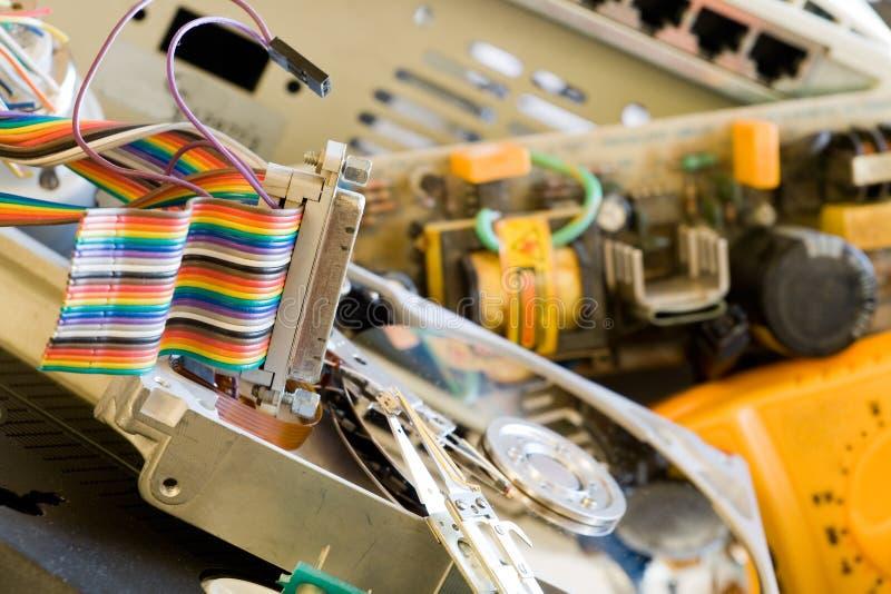Oude computerdelen stock foto's
