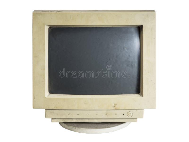 Oude computermonitor royalty-vrije stock afbeeldingen