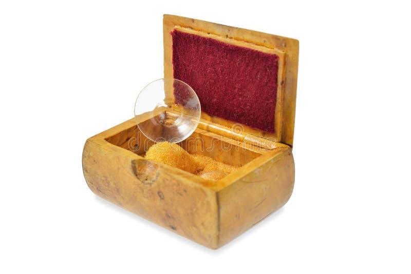 Oude contactlenzen in uitstekende doos stock fotografie