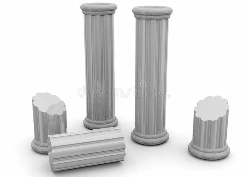 Oude 3D Kolommen - stock illustratie