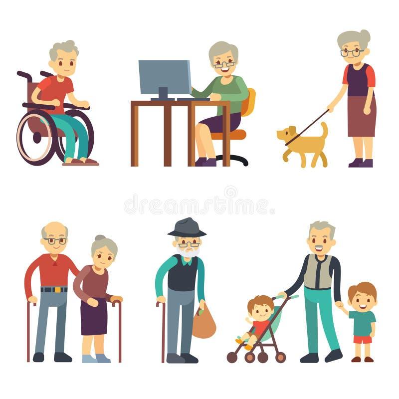 Oude dagmensen in verschillende situaties Hogere man en vrouwenactiviteiten vectorreeks stock illustratie