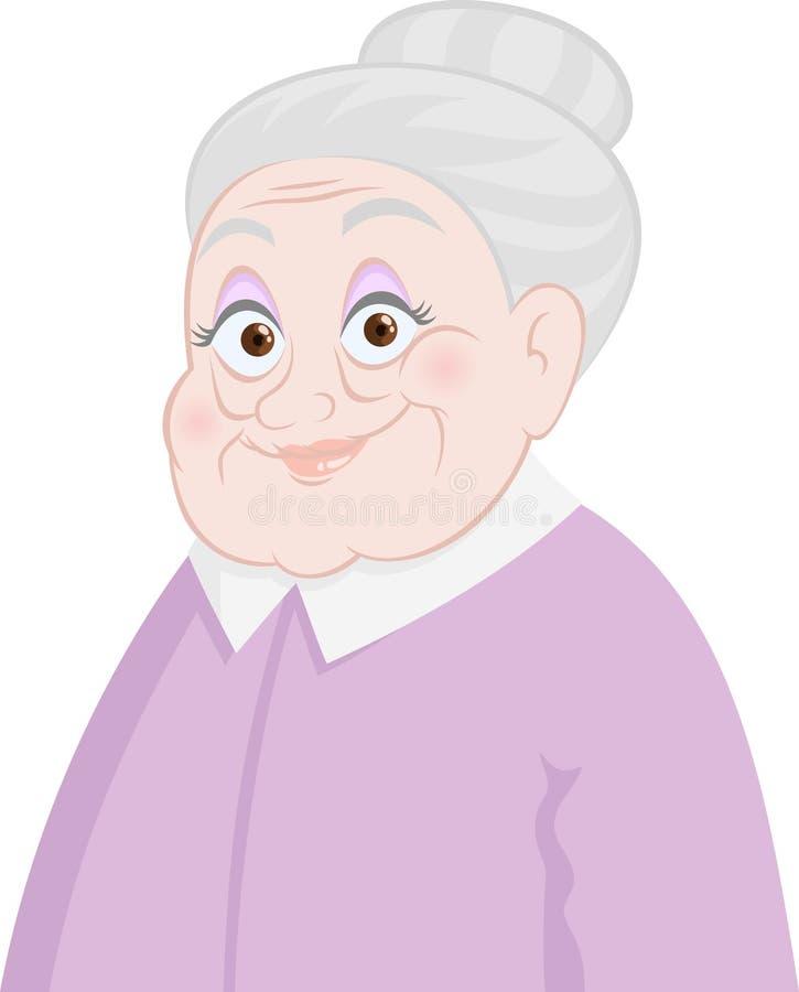 Oude dame stock illustratie