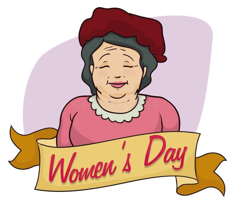 Oude Dame met Baret het Herdenken de Dag van Vrouwen, Vectorillustratie royalty-vrije illustratie