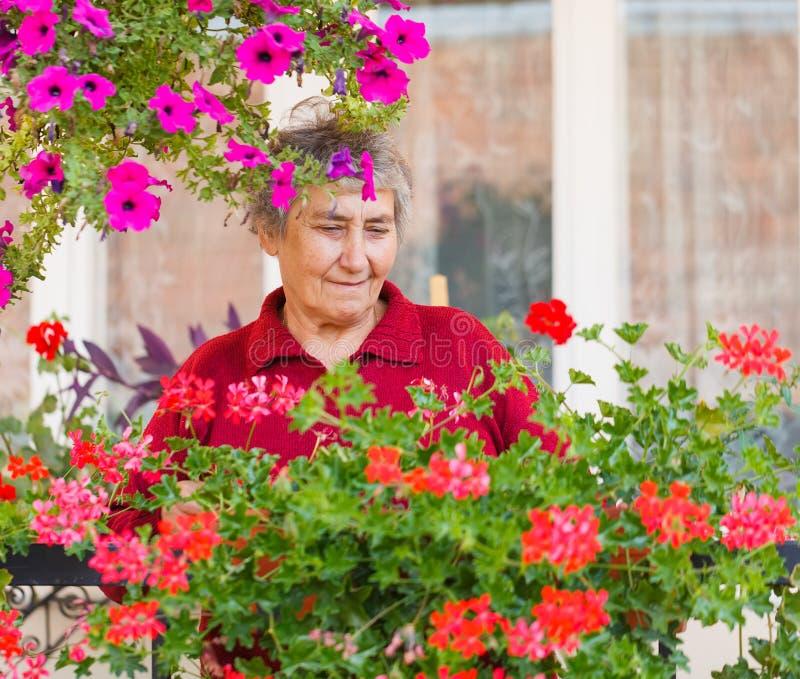 Oude dame met bloemen royalty-vrije stock afbeeldingen