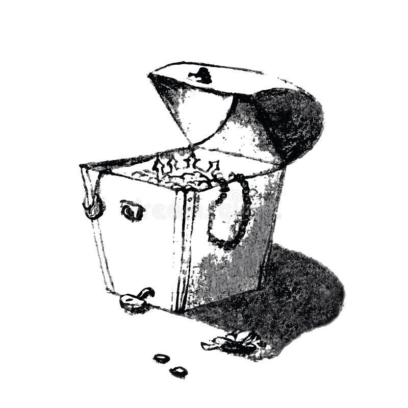 Oude de borsthand die van de piraatschat artistieke potloodschets trekken Illustratie in grappige gekrabbelstijl vector illustratie