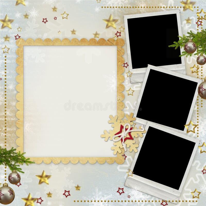 Oude de groetkaart van Kerstmis vector illustratie
