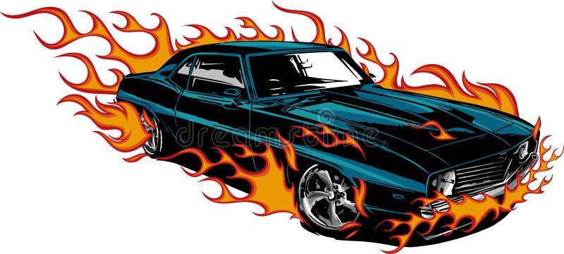 Oude de jaren '70 vectorillustratie van de autospier met vlammen vector illustratie