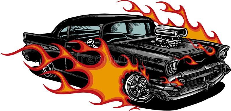 Oude de jaren '70 vectorillustratie van de autospier met vlammen stock fotografie