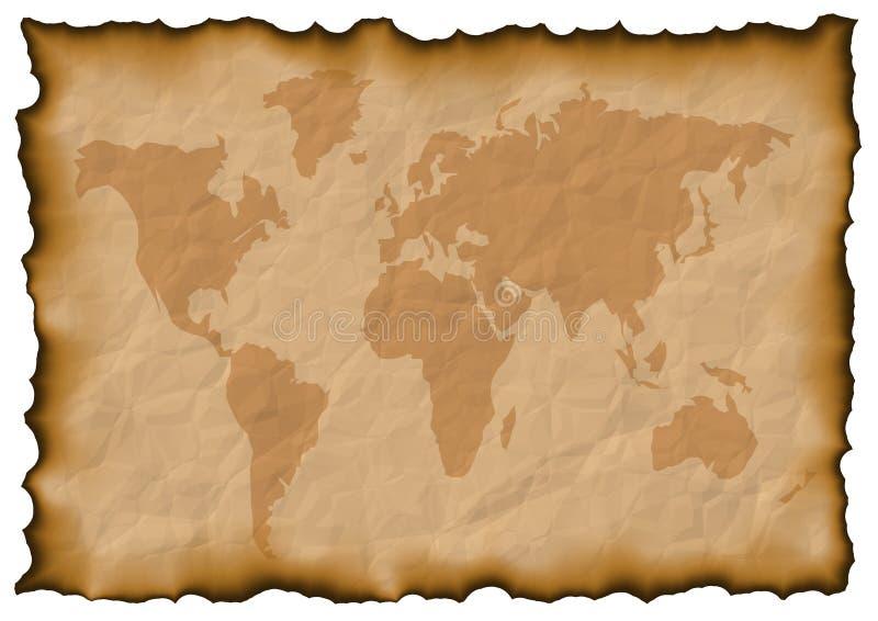 Oude de kaart van de wereld stock illustratie