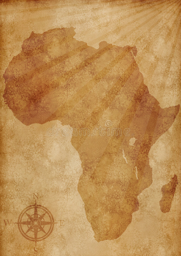 Oude de kaartillustratie van Afrika stock illustratie