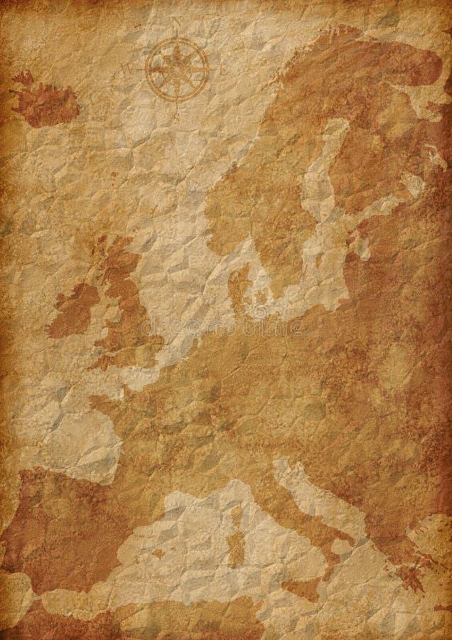 Oude de kaartillustratie van Europa stock illustratie