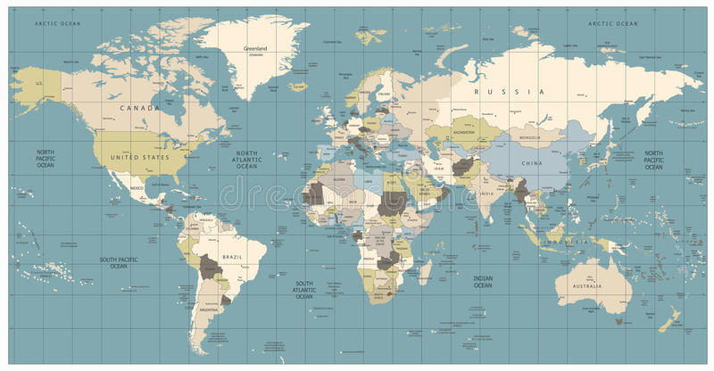 Oude de kleurenillustratie van de wereldkaart: landen, steden, water obje royalty-vrije illustratie
