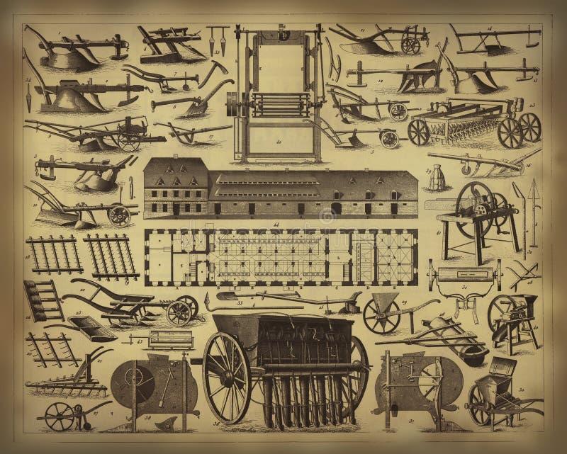 Oude de landbouwhulpmiddelen royalty-vrije illustratie