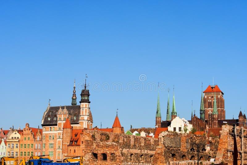Oude de Stadshorizon van Gdansk stock foto's