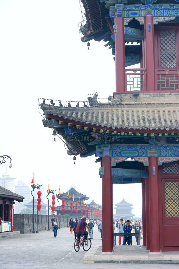 Oude de stadsmuur van Xi'an stock foto