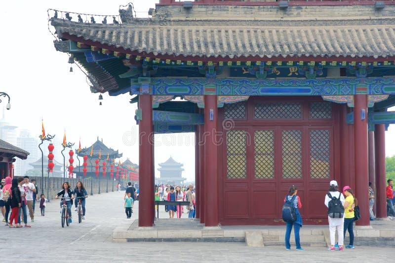 Oude de stadsmuur van Xi'an stock afbeelding