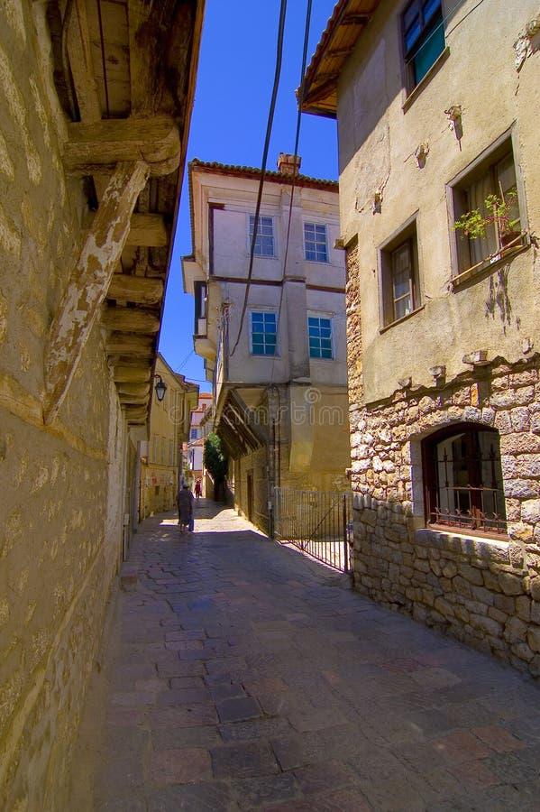 Oude de stadssteeg van Ohrid royalty-vrije stock afbeelding