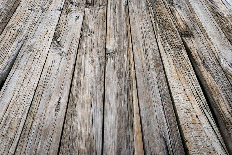 Oude de textuur van het pierstrand hout doorstane raad als achtergrond stock afbeeldingen