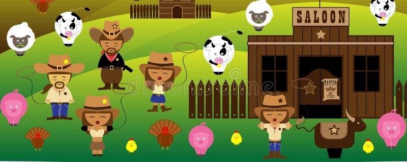 Oude de tijdencowboys van Amerika en zaal en landbouwbedrijf royalty-vrije illustratie
