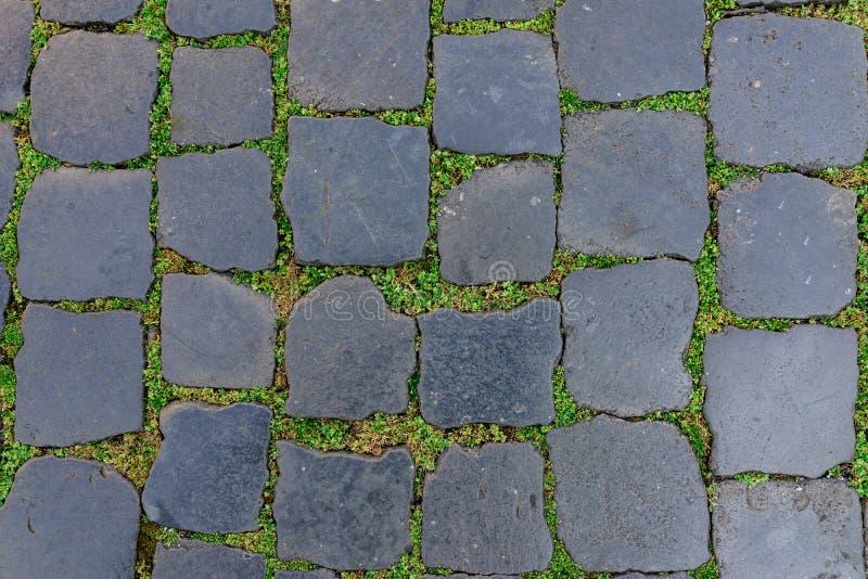 Oude de vloertegel van de granietsteen met groen gras als achtergrond royalty-vrije stock afbeeldingen