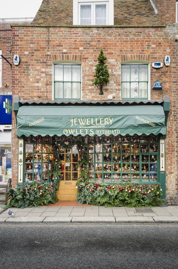 Oude de Winkelbouw Voorgevel in Hythe, Kent, het UK stock fotografie